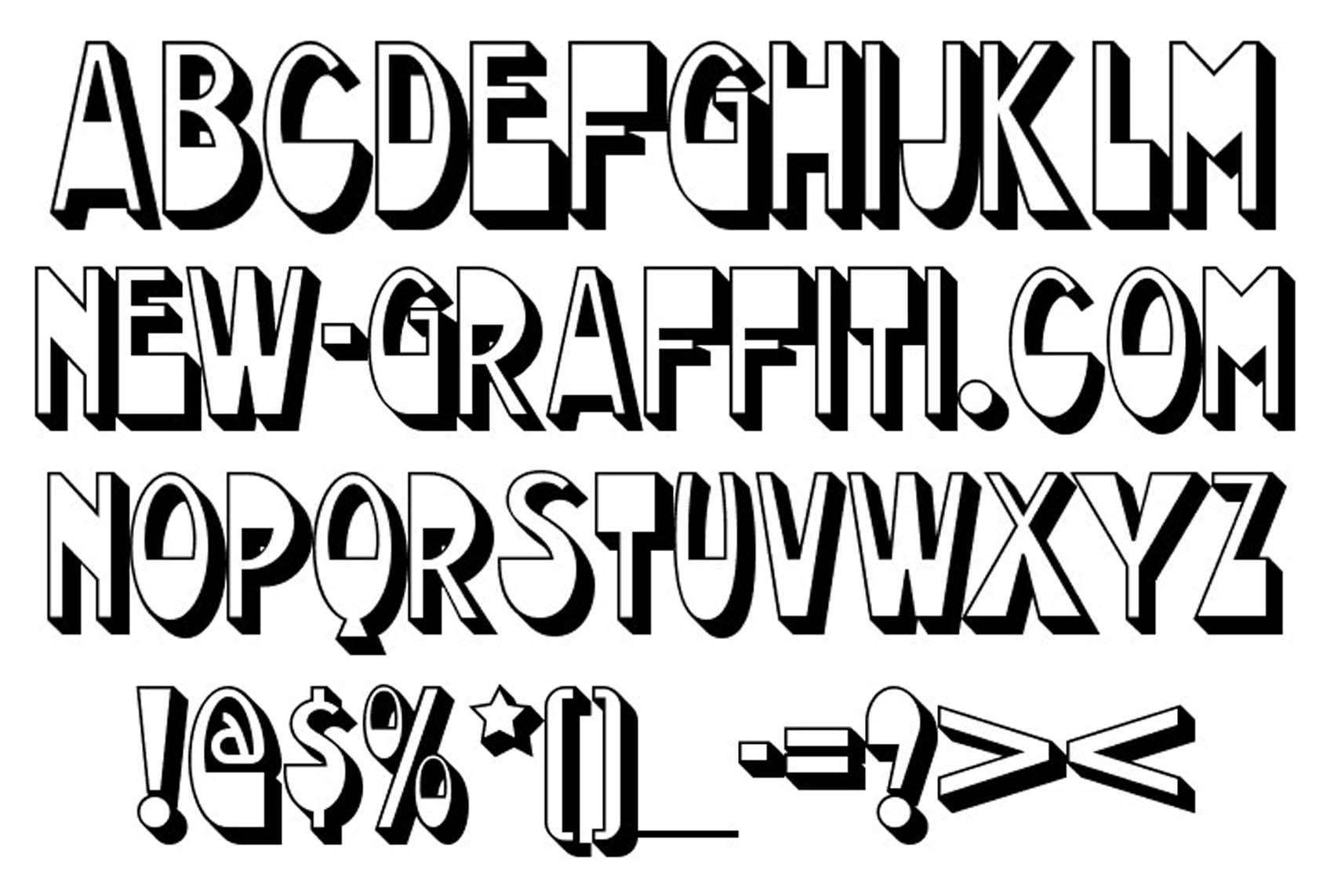 Graffiti font styles alphabet