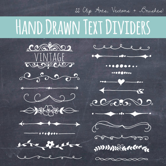 Hand Drawn Text Divider Clip Art