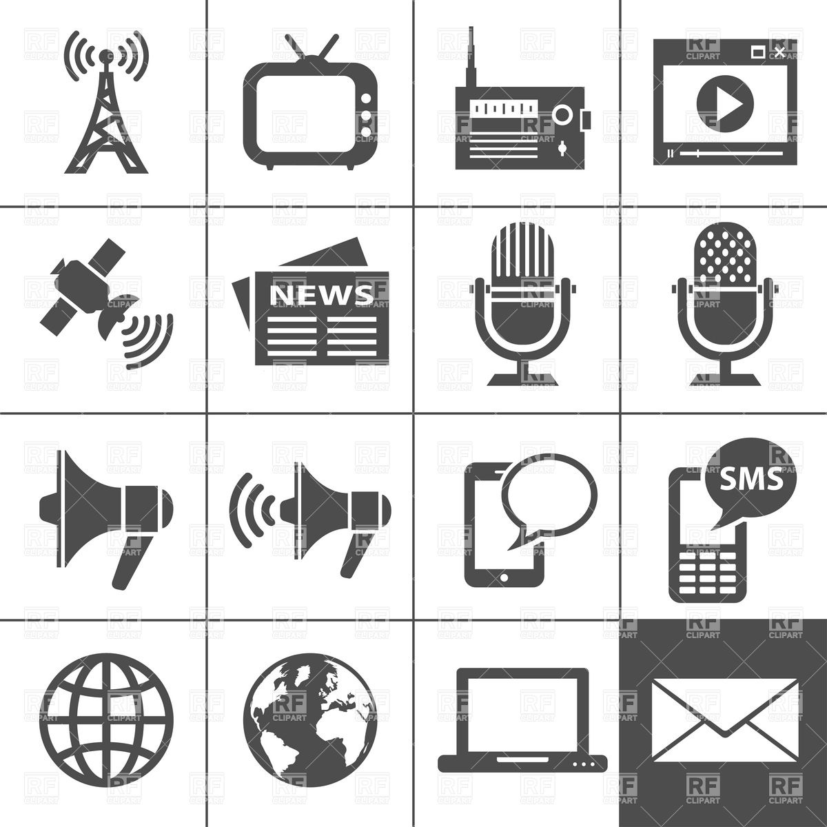 12 Mass Media Silhouette Icon Images