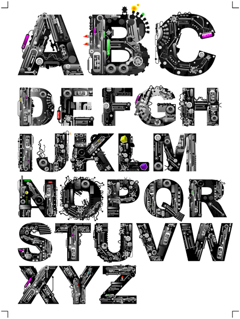 Mechanical Letter Font Alphabet