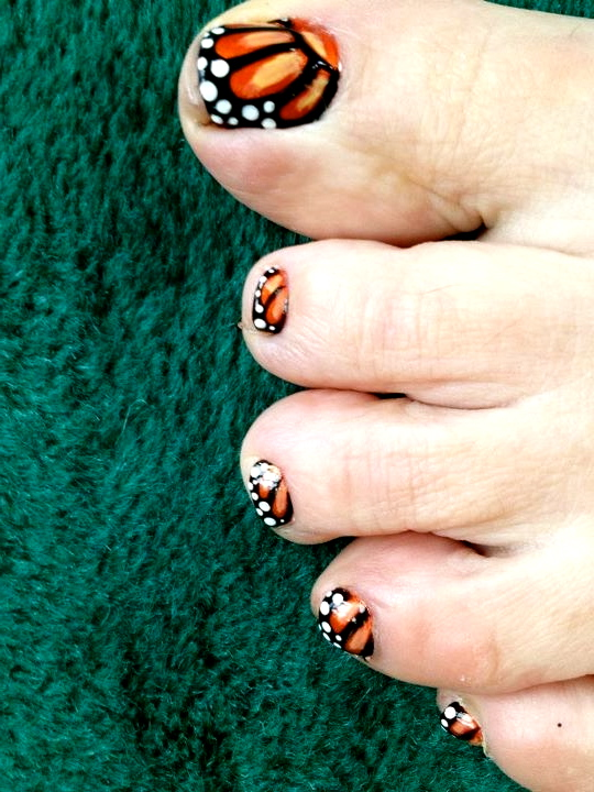 Monarch Butterfly Nail Design