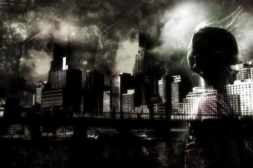 Photoshop Black and White City
