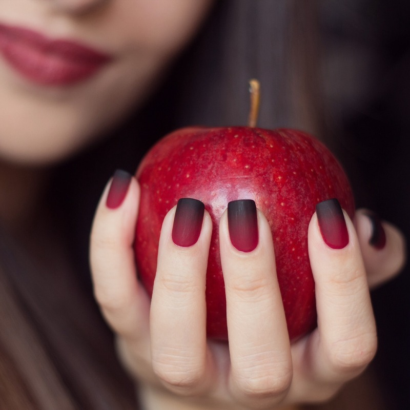 Red and Black Matte Nail Designs