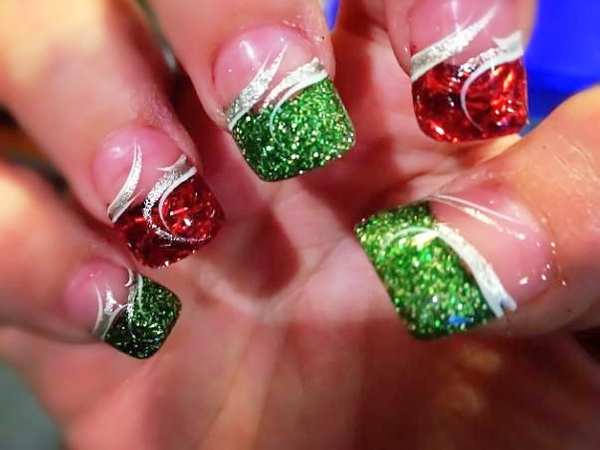 15 Green And Red Christmas Acrylic Nail Designs Images Green