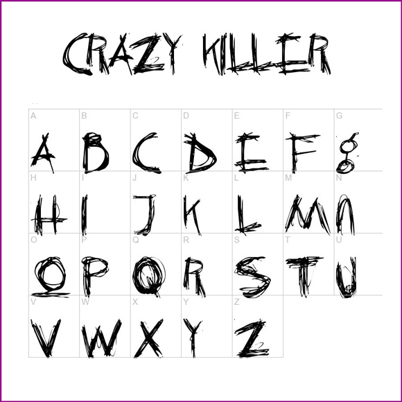 Scary Letter Fonts Alphabet