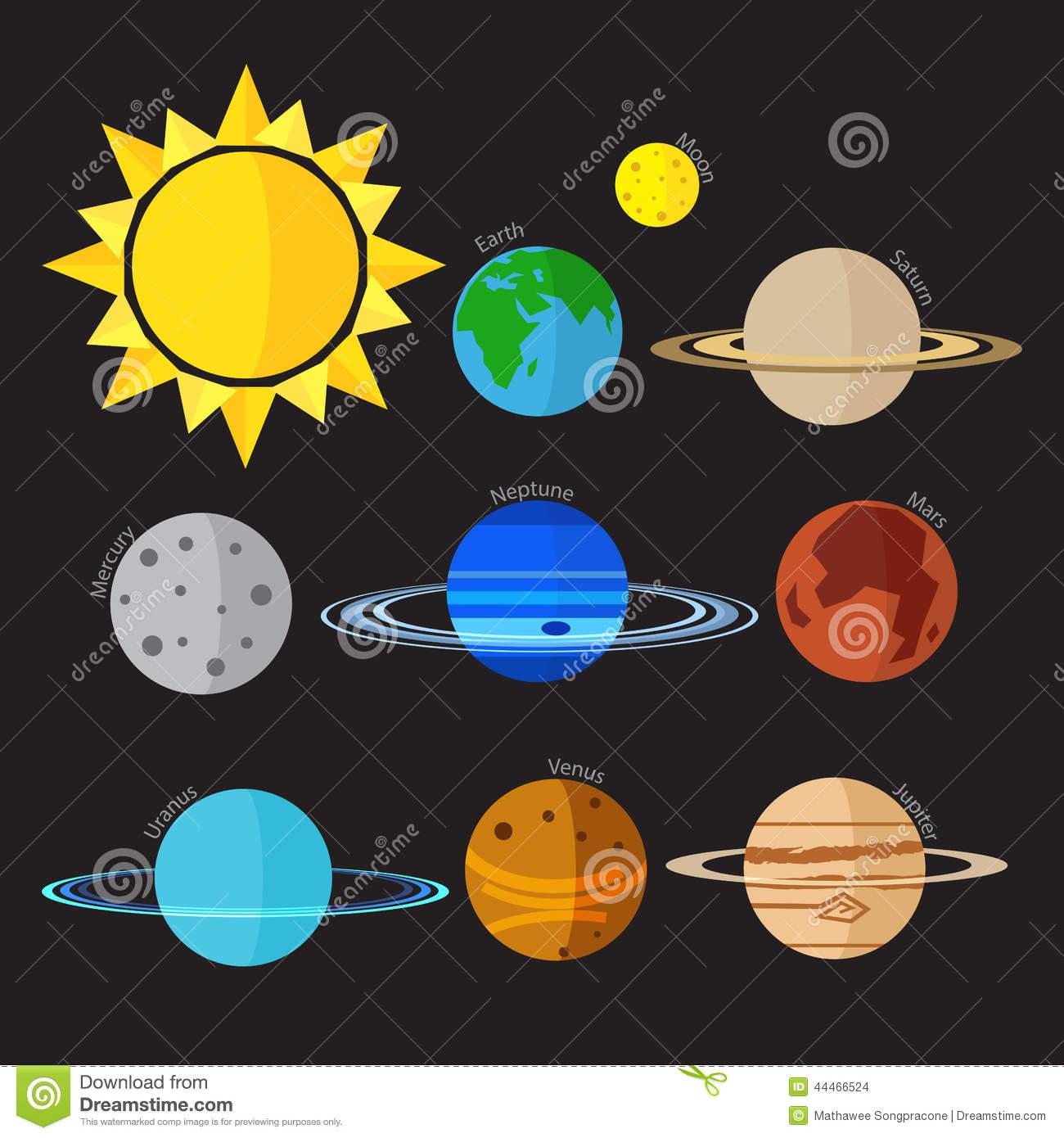 Solar System Icon Flat
