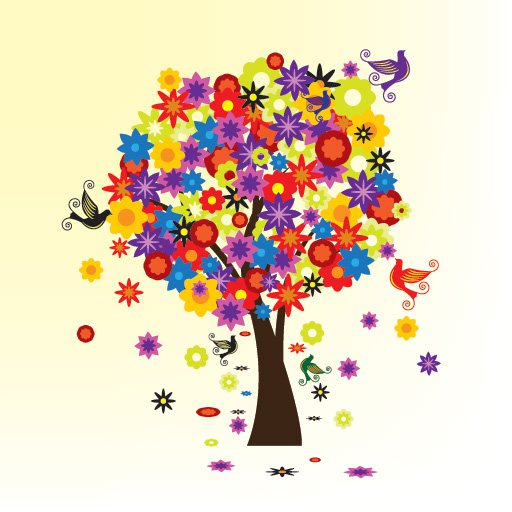 18 Vector Graphic Tree With Flowers Images