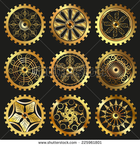15 Steampunk Gears Vector Images - Gears Vector Clip Art ...