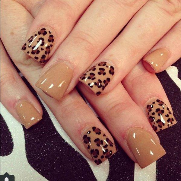 Tan and Cheetah Nail Design
