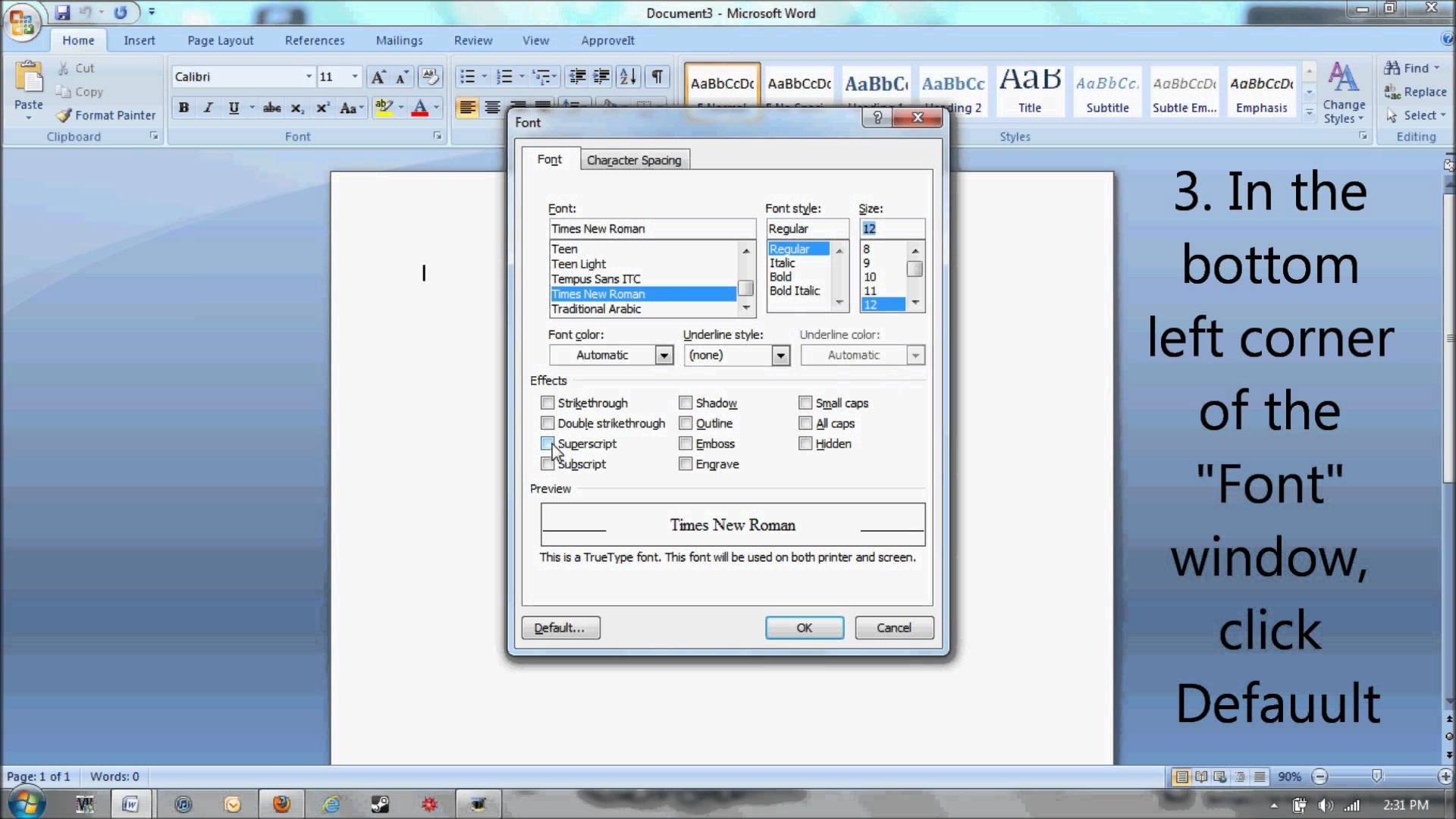 Times New Roman Font Microsoft Word
