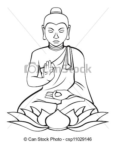 12 EPS Vector Buddha Drawings Images