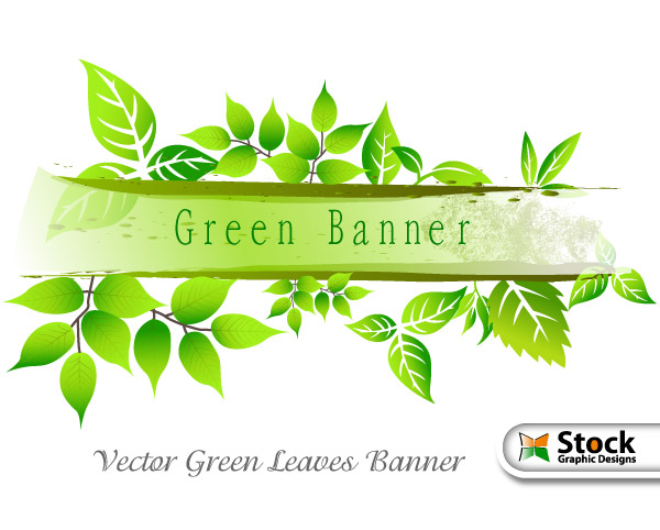 Vector Green Banner Leaves