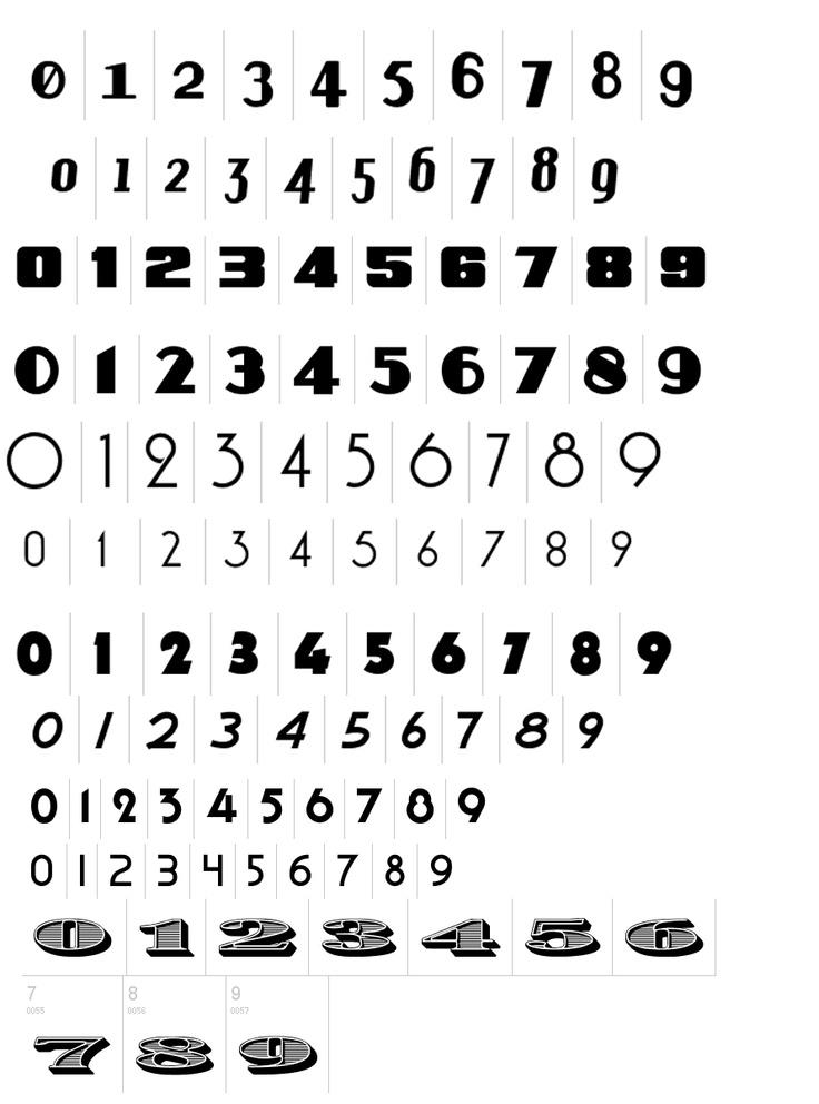 Tattoo Number Fonts 12 Vintage Number Font...