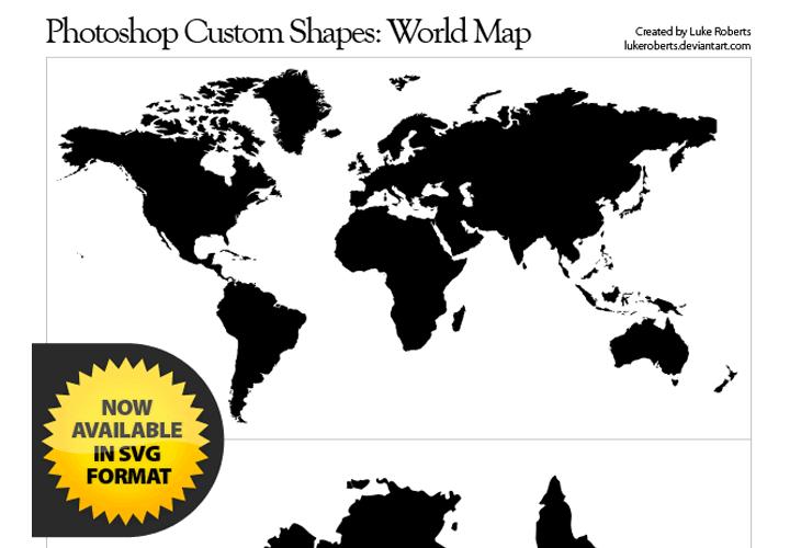 World Map for Custom Shapes Photoshop