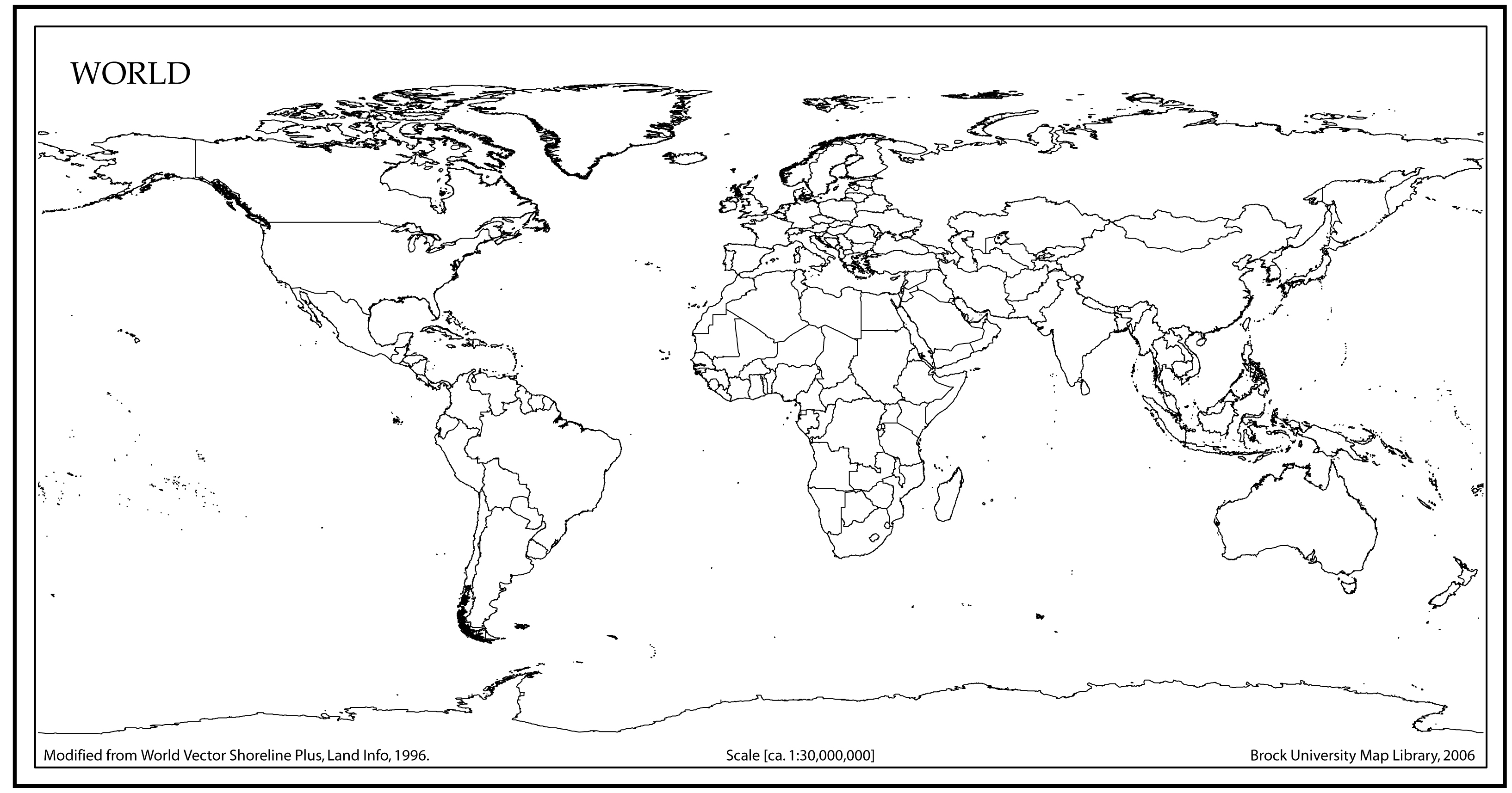 World Map Outline with Countries