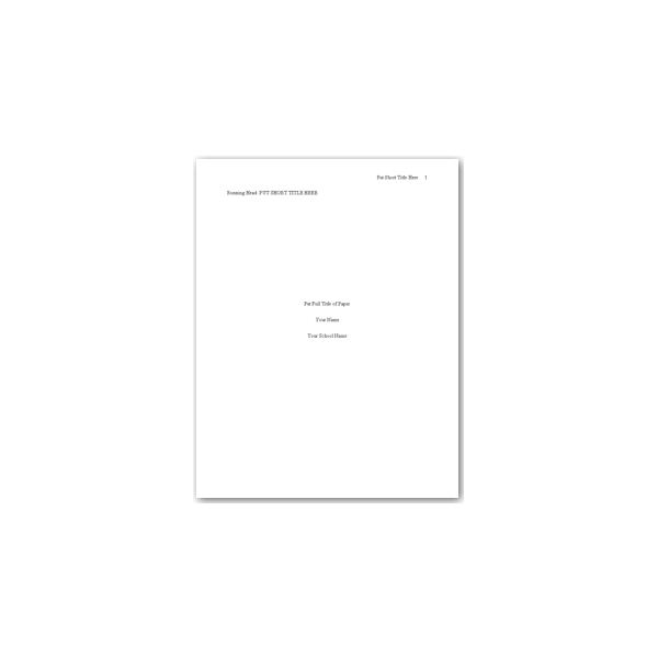 APA Cover Page Template Word
