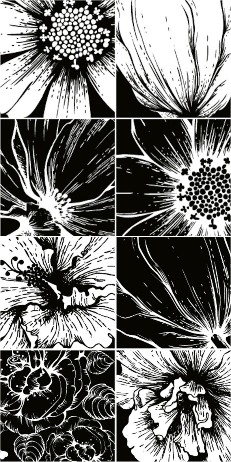 20 Flower Art Black And White Vector Images - Black and ...