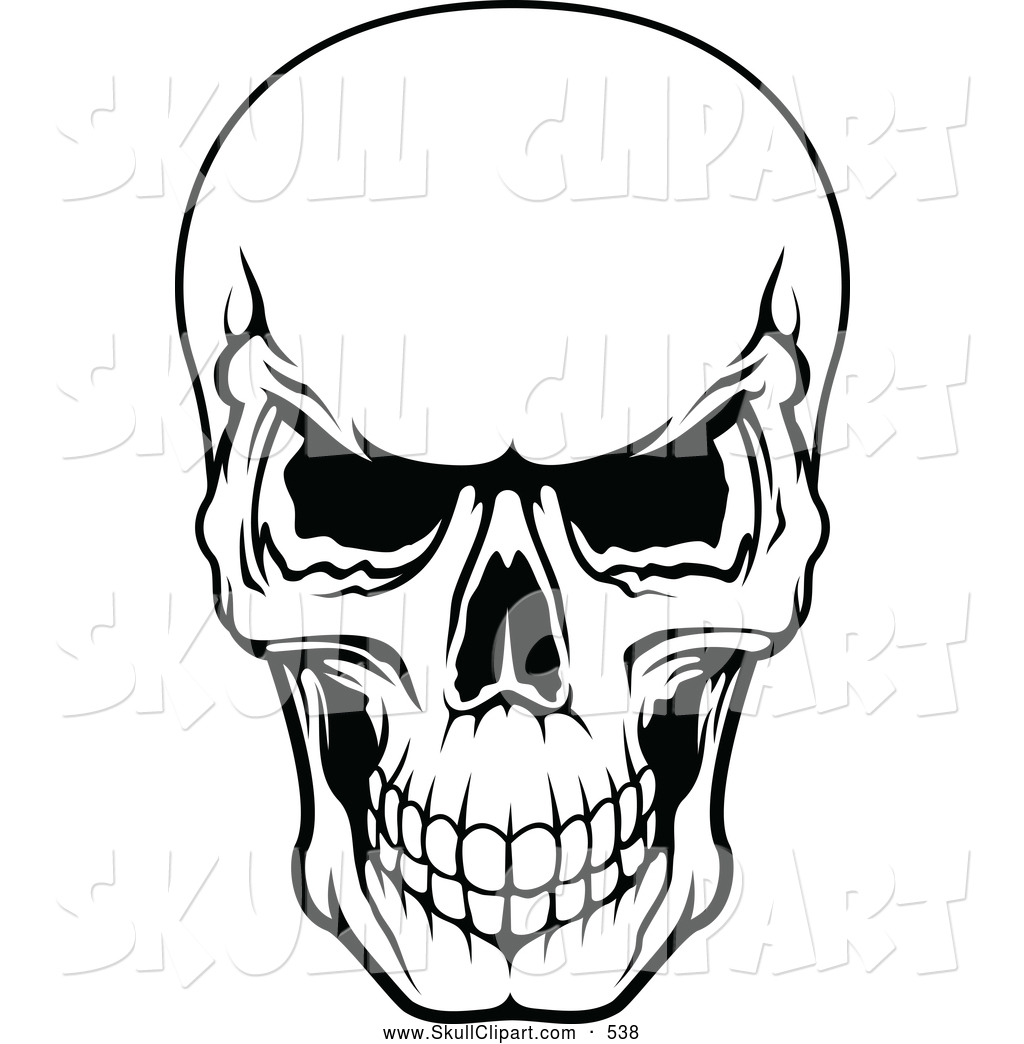Black and White Skull Clip Art