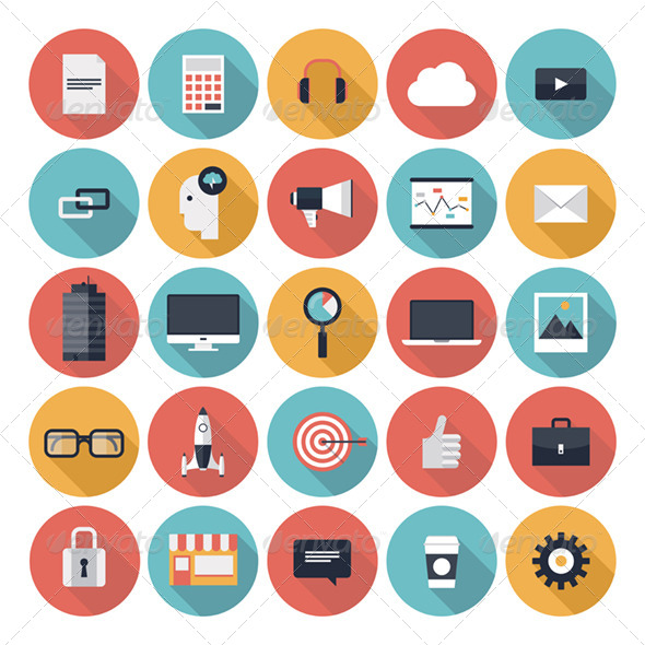 18 Business Flat Icons Images