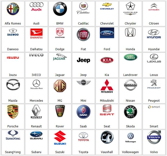 All rental car companies list 18