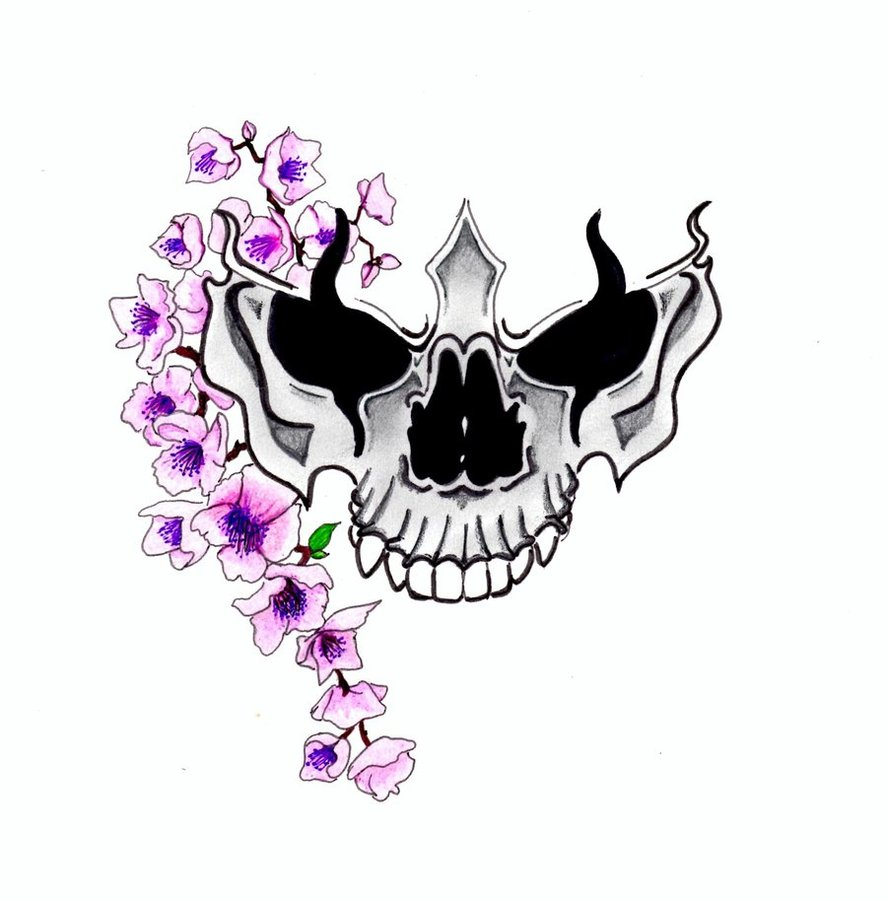 Cherry Blossoms and Skull Tattoo Design