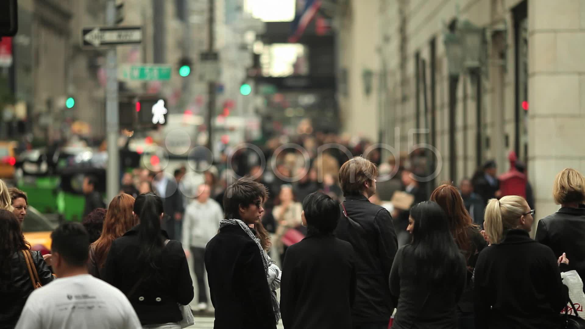 Crowd of People Walking in New York City