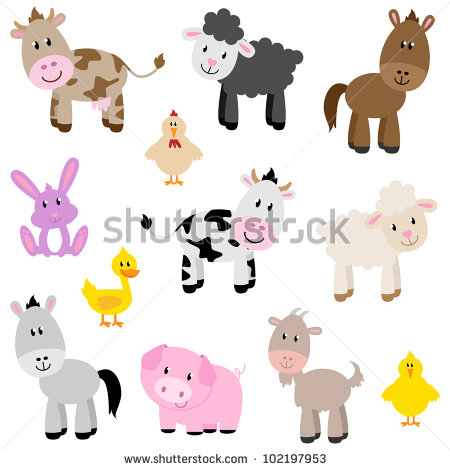 Cute Cartoon Farm Animals