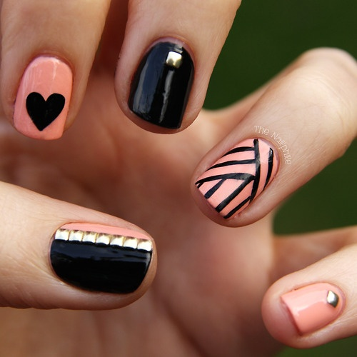 Cute-Pink-And-Black-Nail-Designs
