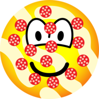 Emoticon Smiley Eating Pizza