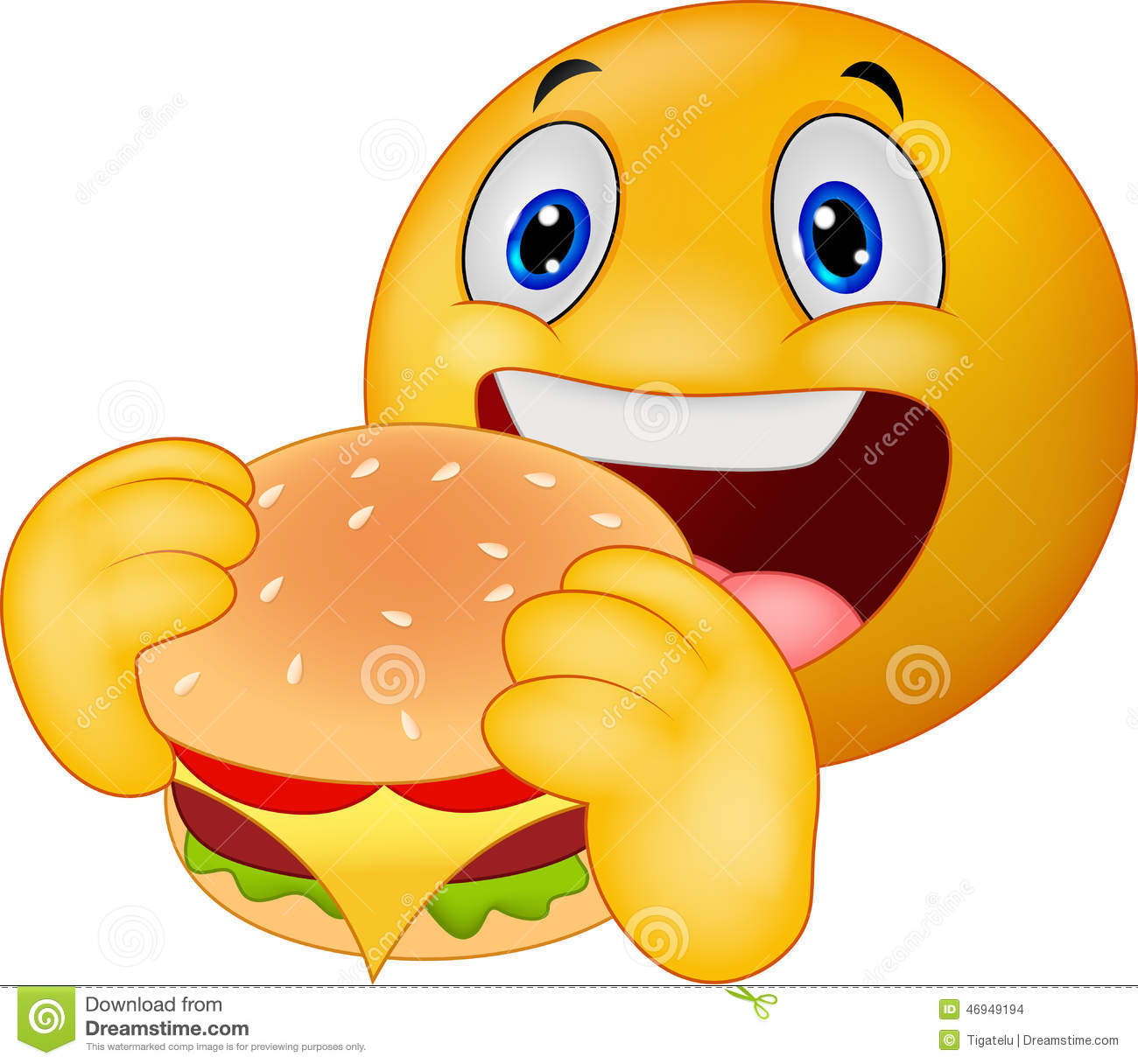 Emoticon Smiley-Face Eating a Burger