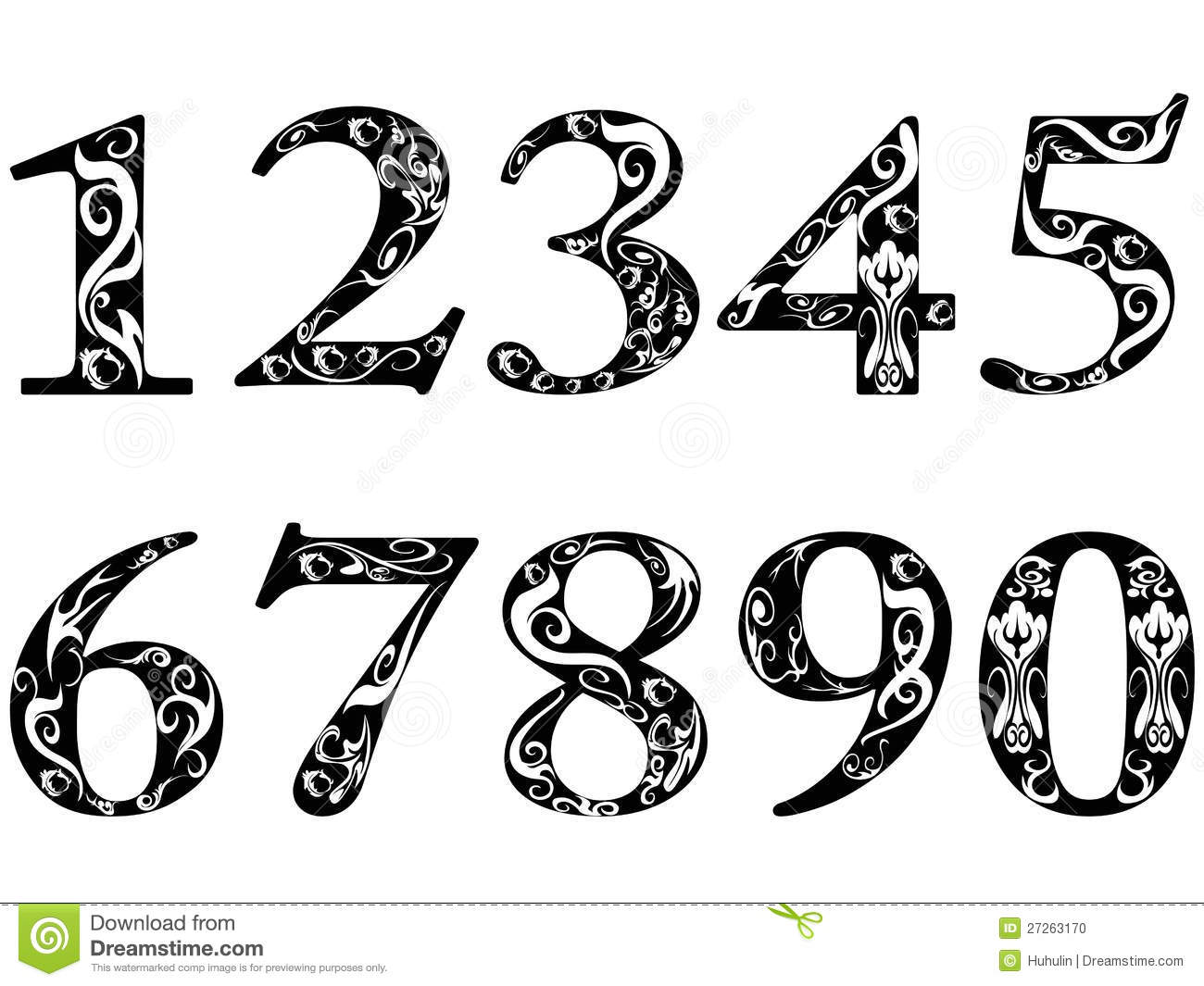 Fancy font number images fonts