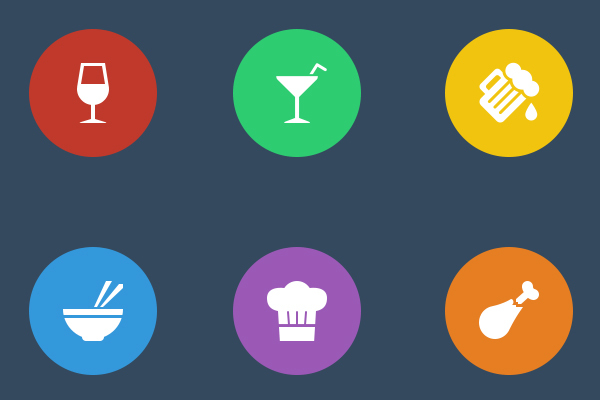 17 Flat Food Icons Images