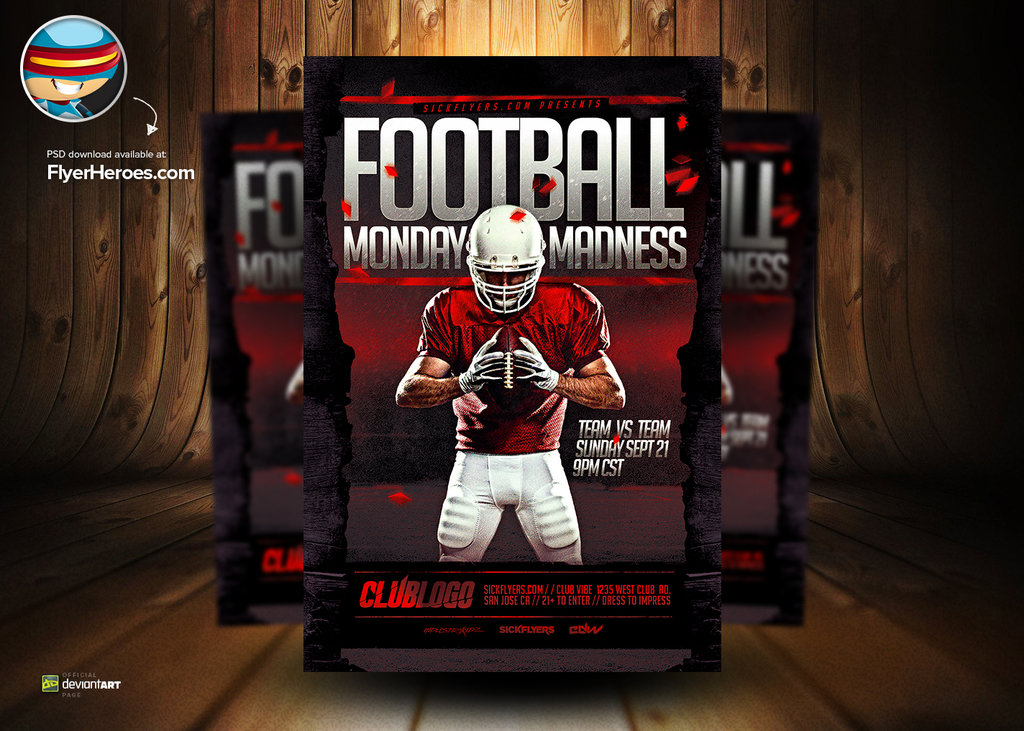 16 Photoshop PSD Flyers NFL Images