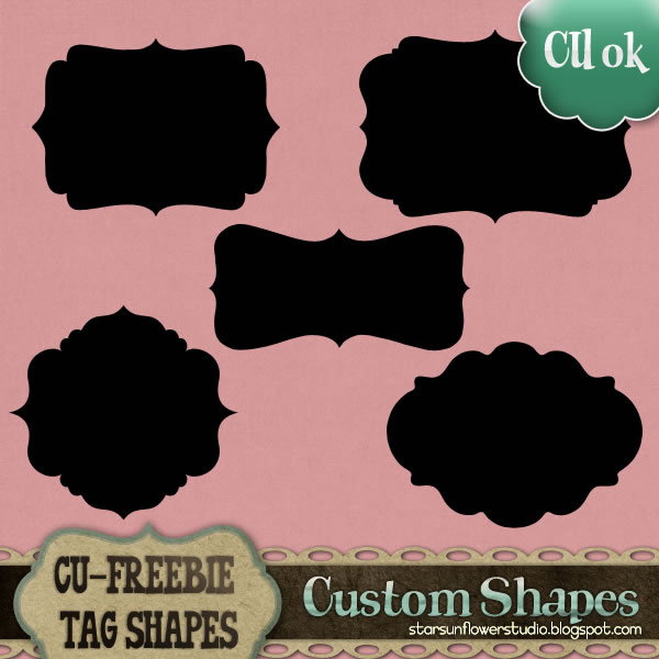12 Free Photoshop Custom Shapes Label Images