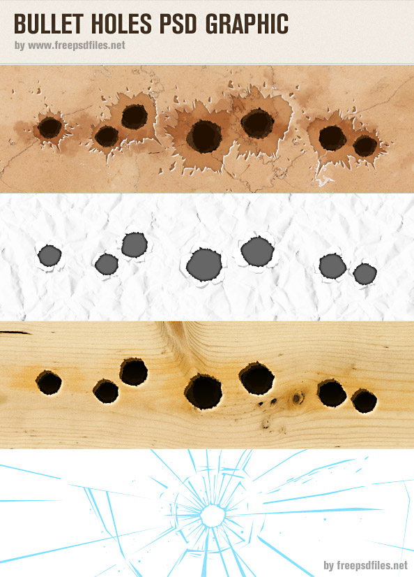 14 Bullet Holes PSD Images