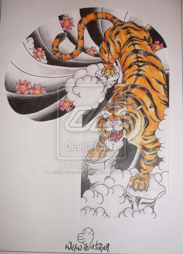 Half Sleeve Japanese Tiger Tattoo