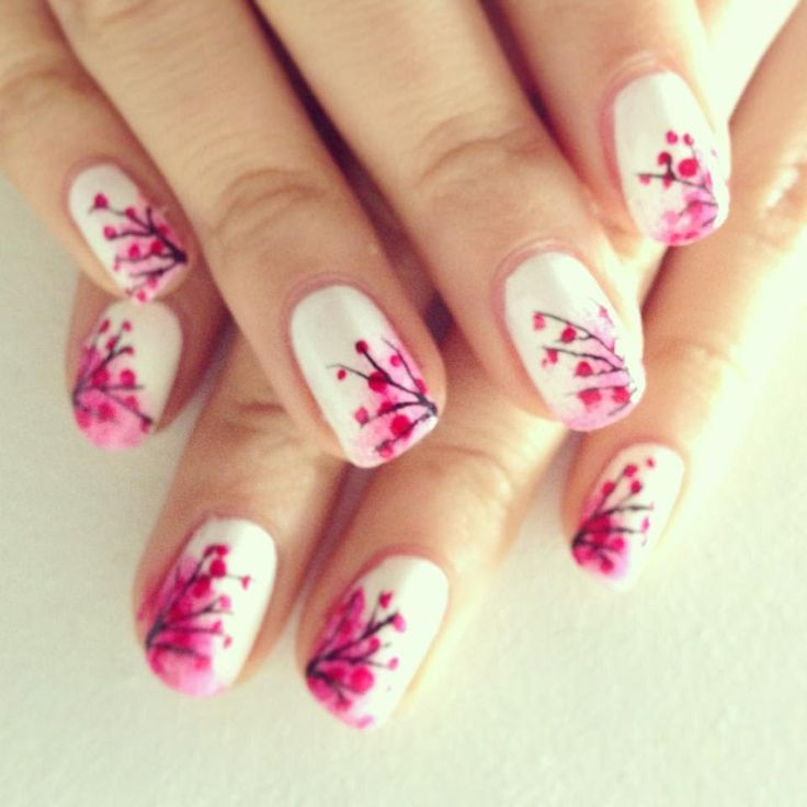 Japanese Cherry Blossom Nails