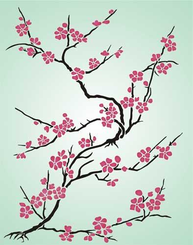 Japanese Cherry Blossom Stencil