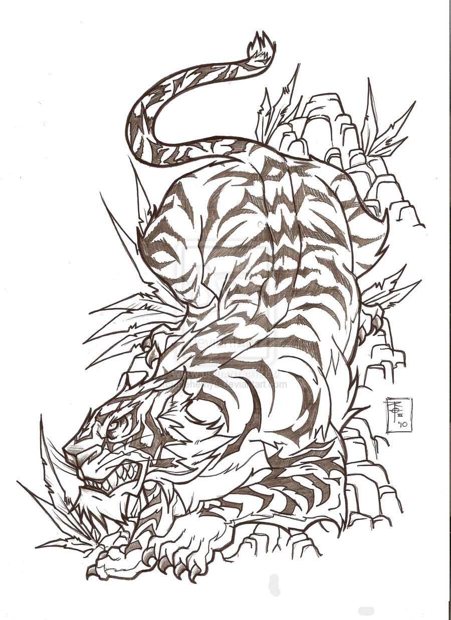 Japanese Style Tiger Tattoo Designs