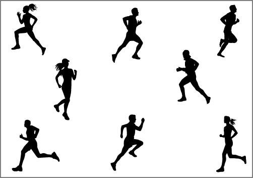 Marathon-Running Silhouette Vector Clip Art