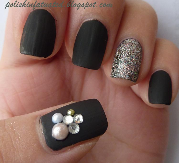 12 Matte Black Nail Designs Images - Black Matte Nail Polish, Black ...