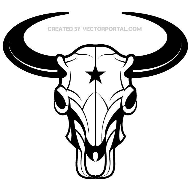 Skull Bison Vector Art