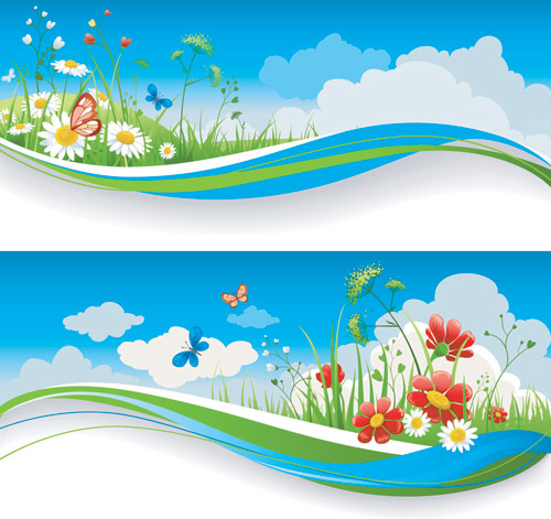 Spring Banner Vector Art Free