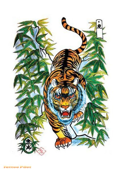 Tiger Tattoo Flash Designs