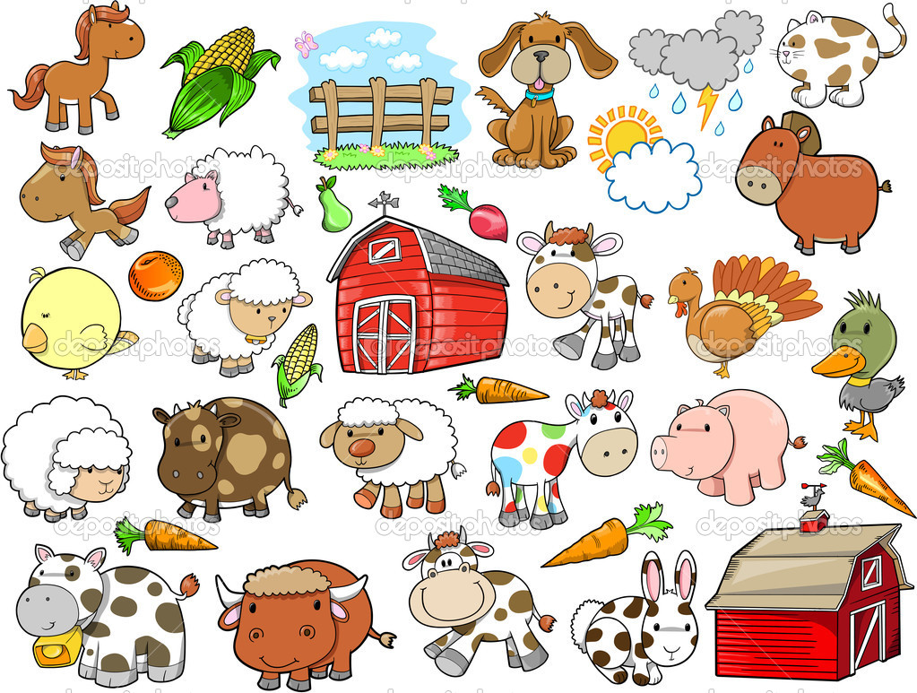 17 Farm Animals Vector Images