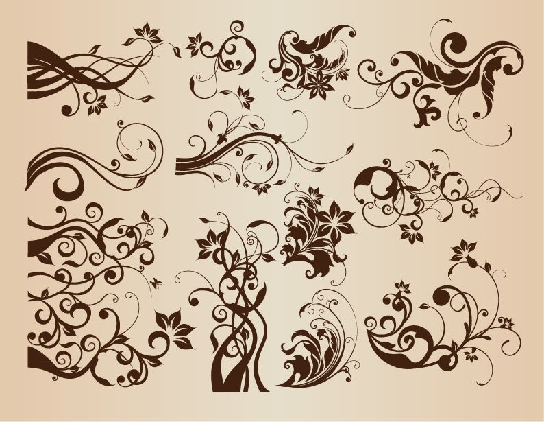 14 Vintage Floral Element Vector Images