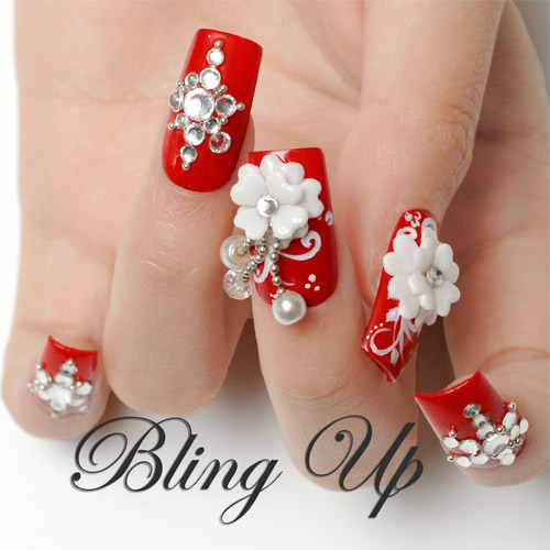 White 3D Nail Art