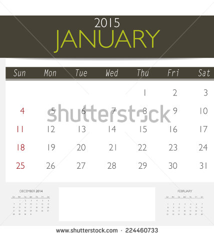 2015 Monthly Calendar Vector