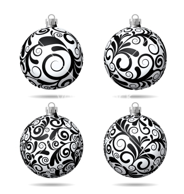 Black and White Christmas Ball Vector