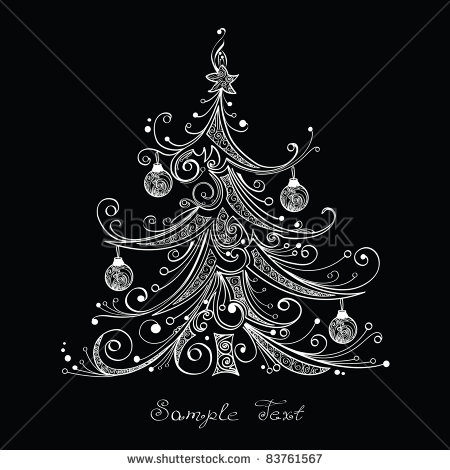 Black and White Christmas Tree Vector